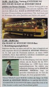 MMT-Bus im Beatles Museum Halle-Ankündigung